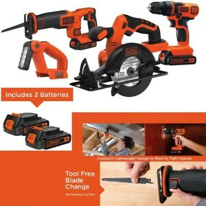 Black & Decker 4 Tool Composite Set Saw Drill Driver LED Worklight Power Tools