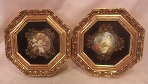 Pair Of Small Vintage Octagon Frames With Prints 8x8 Holds 7x7 Molding 1 1 4
