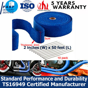 2 x50ft Manifold Header Exhaust Thermal Heat Tape Wrap W Ties High Temperature