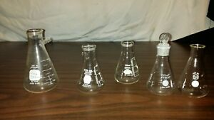 5 Pieces Of Pyrex Kimax Glass 4 125ml 1 250ml Filter Flask 27060 5340 5020