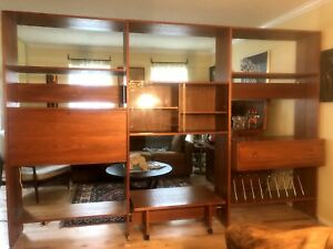 Wall Unit Room Divider Desk Danish Teak Hans Wegner Ry Mobler Mid Century 3 Bay