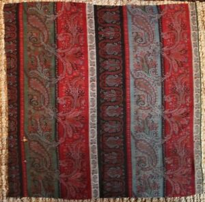 Hand Woven Wool Kashmir Shawl Paisely C 1860 Fabric L 30 X W 30