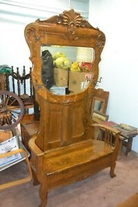 Antique Huge Double Seatertiger Oak Hall Tree With Beveled Glass Mirror