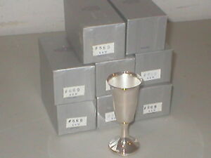 Set Of 8 Silver Plated Wine Cordial Goblets 3 1 2 Inch K M Silverplate Eng