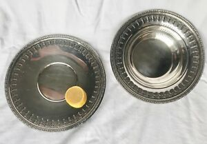 Reed Barton Set Silverplate Bowl Plate 1202 Gothic Style Repousse 10 5