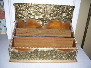 Vintage Wood Hammered Brass Letter Organizer Tray 3 Tier Desk Top Caddy Holder