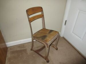Vintage American Seating School Desk Chair Childs Metal Wood Antique Furniture