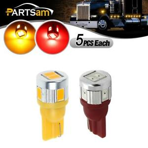 5x Red 5 Amber Top Clearance Cab Marker Light 5730 T10 Led Bulb For Hummer 03 09