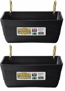 2 Pack Little Giant Fence Feeders With Clips 11 inch Black