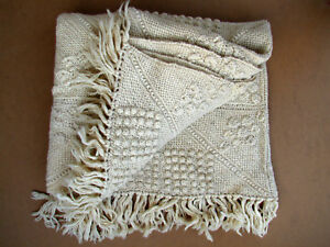 Antique Vintage Blanket Coverlet Weave Tissue Hand Knitted Wool 20th