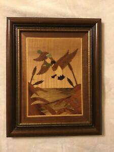 Antique Marquetry Wood Inlay Framed Picture Wall Hanging Ducks Mallards Flight