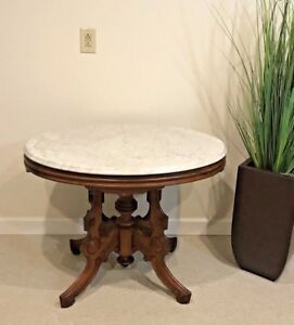 Antique Victorian Walnut Marble Top Carved Oval Parlor Table