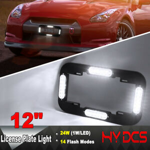 12 24 W Led Number License Plate Lamp Flash Warning Strobe Lights White 12 24v