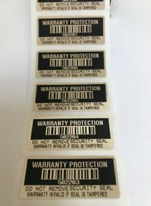 500 Black High Security Tamper Evident Warranty Void Labels stickers