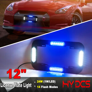 12 24 W Led Number License Plate Lamp Flash Warning Strobe Lights Blue White
