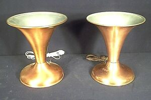 Pair Of Mid Century Modern Copper Cone Head Trumpet Shaped Mantle Lamps