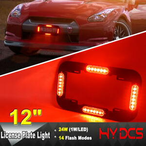 12 24 W Led Number License Plate Lamp Flash Warning Strobe Lights Red 12 24v