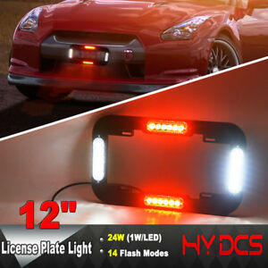 12 24 W Led Number License Plate Lamp Flash Warning Strobe Lights Red White