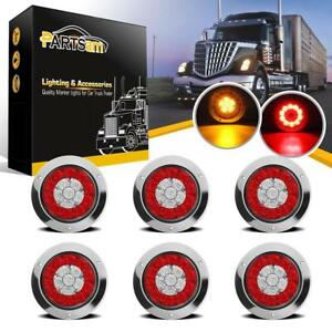 4 Round Truck Trailer Led Tail Stop Brake Lights Red Amber Flange Mount 6pc