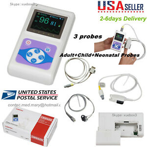 Usa Handheld Spo2 Pr Pulse Oximeter Adult child neonatal 3 Spo2 Probe Contec 60d