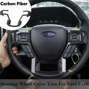 Carbon Fiber Grain Steering Wheel Moulding Trims Kit For Ford F150 Accessories
