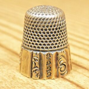 Antique Simons Brothers Silver Thimble Gold Tone Band Size 8