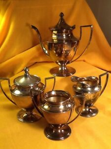Antique Wm A Rogers Quadruple Plate Tea Coffee Service Set 4 Piece Set Usa