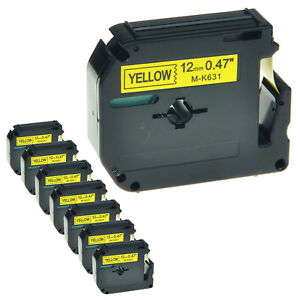8 Pk Mk631 M k631 12mm 1 2 Black On Yellow Lable Tape For Brother P touch 70hk