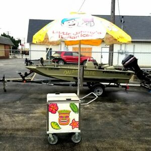 Little Jimmy s Italian Ice Cart W Umbrella Shaved Ice Vendor Concession Stands