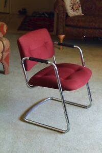 Steelcase Chair Vintage 1980s 90s Cantilever Chrome Arm Chair Maroon Nice