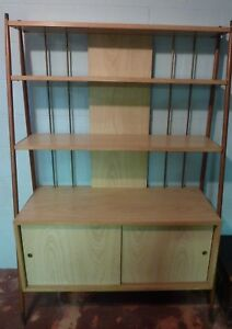 Vtg Mid Century Modern Blonde Walnut Hutch China Cabinet Bookcase Credenza