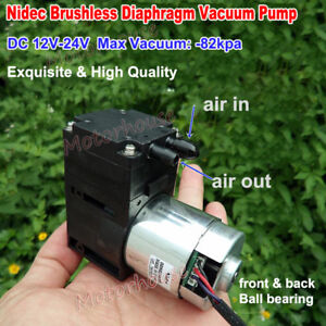 Nidec Dc 12v 24v Brushless Diaphragm Vacuum Air Pump Negative Pressure 82kpa