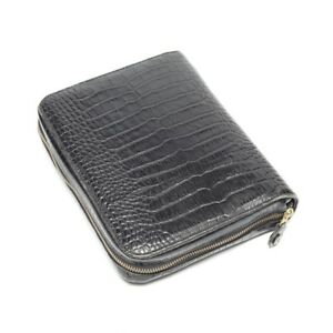 Stunning Franklin Covey Crocodile patterned Black Leather Classic Sized Binder