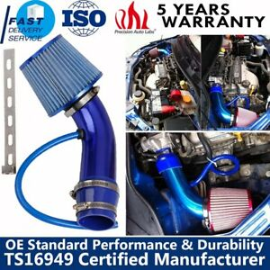 Car Cold Air Intake Pipe 3 Filter W clamp Aluminum Accessories Blue Universal
