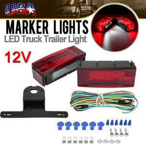 Left Right Led Submersible Red Trailer Boat Rectangle Stud Stop Turn Tail Lights