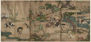 Japanese Screen Painting Samurai Horses Very Big Size 2 By Hasegawa Touhaku