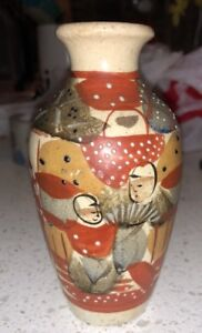 Small Antique Japanese Satsuma Figural Cabinet Vase 5 Tall Pottery