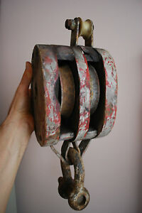 Huge Double 8 Old Wood Block Pulley Tackle