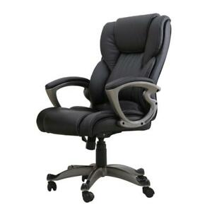 Black Leath Office Furniture Chair Chairs Computer Desk Back Executive Cozy Task