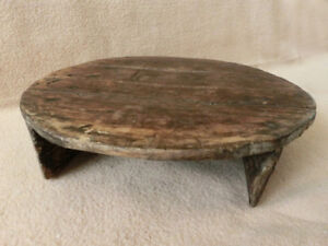 14 Antique Primitive Small Low Round Dinning Table Rare Hard To Find