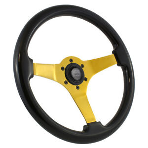 14 Neo Chrome Steering Wheel Wood Grip Vintage Jdm Drift 6 Hole 3 Spoke