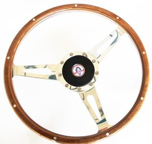 1968 77 Mustang 9 Hole Retro Wood Steering Wheel 15 Billet W Cobra Cap Emblem