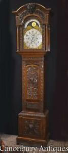 Victorian Oak Grandfather Clock Long Case 1880