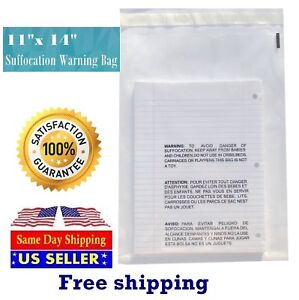 11x14 Clear Suffocation Warning Poly Self Seal Bags st Shipmailers