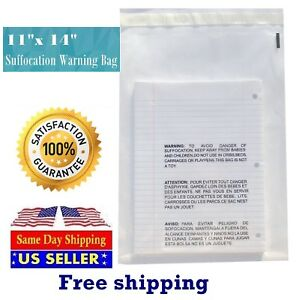 11x14 Clear Resealable Suffocation Warning Poly Self Seal Bags st Shipmailers