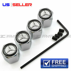 Anti Theft Valve Stem Caps Wheel Tire For Mercedes Benz Va26 Us Seller