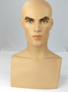 Less Than Perfect 413 b Male Fleshtone Mannequin Head Form Display With Bust