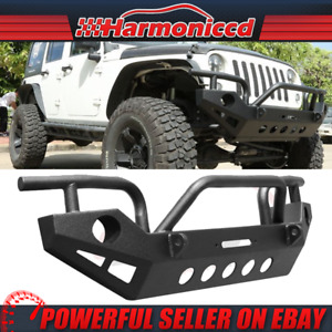 Fits 07 19 Jeep Wrangler Jk Front Bumper Bull Bar Grille Guard With Winch Plate