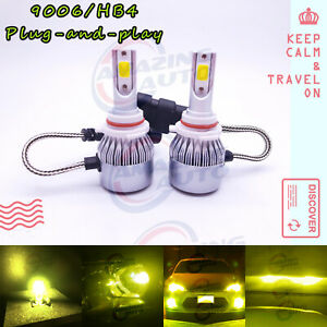 New 2x 9006 Hb4 3000k Yellow 8000lm Cree Led Headlight Bulbs Kit High Low Beam