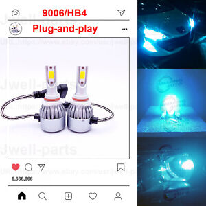 New 2x 9006 Hb4 8000k Ice Blue 8000lm Cree Led Headlight Bulbs Kit High Low Beam